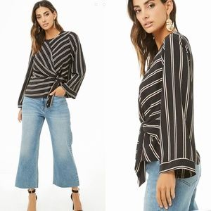 F21 Knotted Front Striped Top